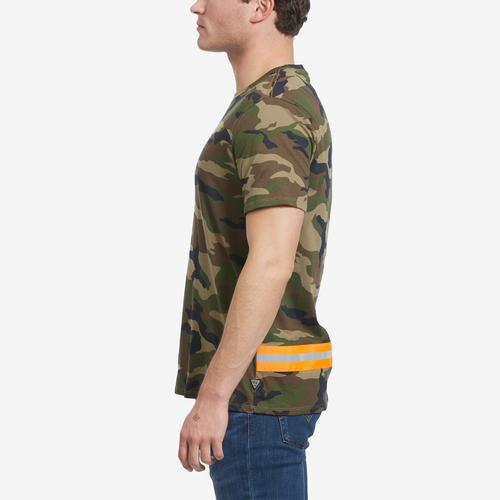 Left Side View of Guess Men's Camo Reflective-Tape Tee