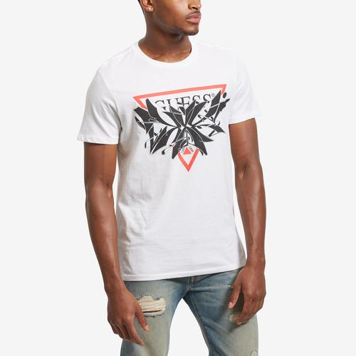 Front View of Guess Men's Exploding Logo T-Shirt