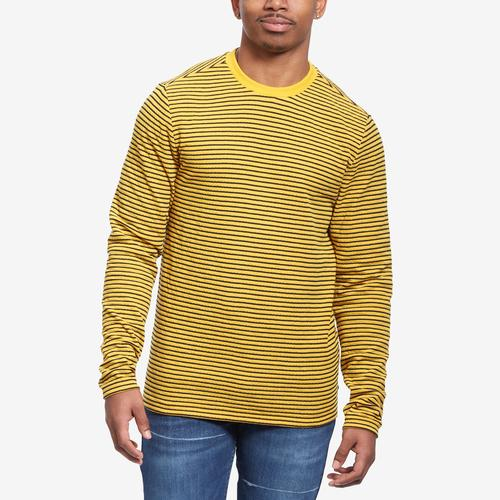 Front View of Guess Men's Analog Stripe Double-Knit Tee