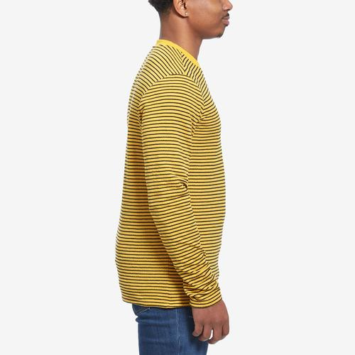 Left Side View of Guess Men's Analog Stripe Double-Knit Tee