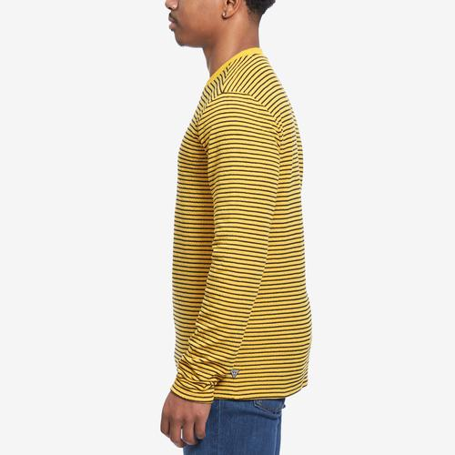 Right Side View of Guess Men's Analog Stripe Double-Knit Tee