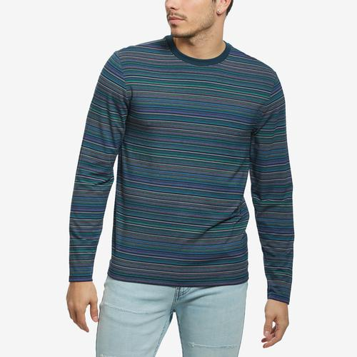Front View of Guess Men's Saturday Striped Long-Sleeve Tee