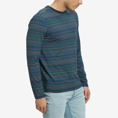 Left Side View of Guess Men's Saturday Striped Long-Sleeve Tee