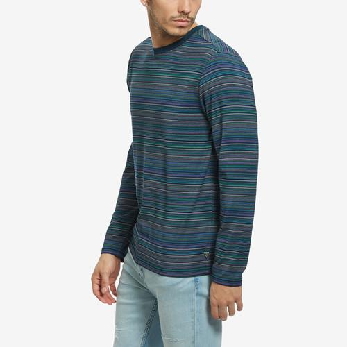 Right Side View of Guess Men's Saturday Striped Long-Sleeve Tee