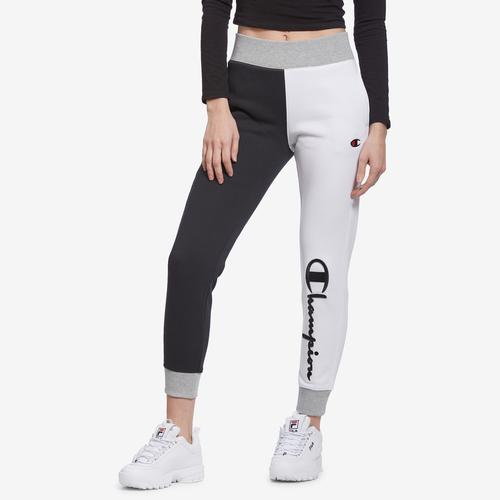 Front View of Champion Women's Reverse Weave Colorblock Joggers