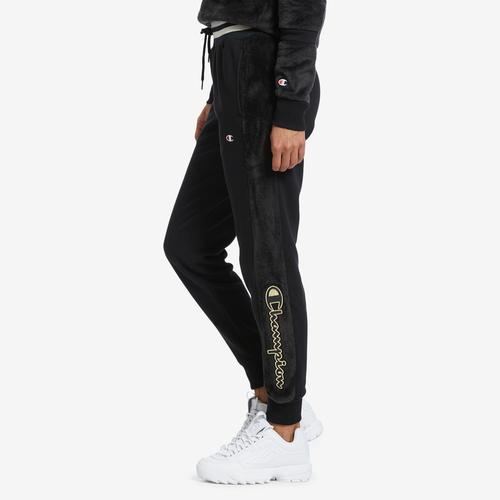 Left Side View of Champion Women's Faux Fur Joggers