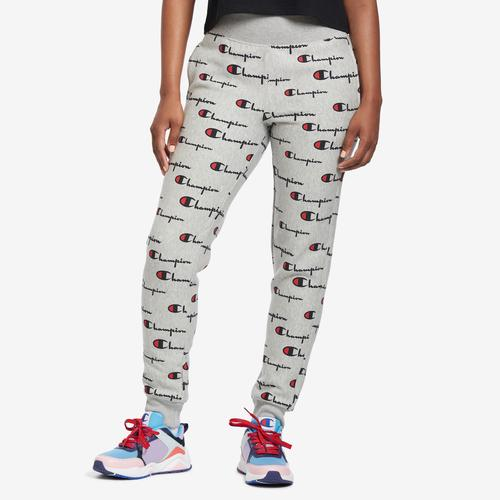 Front View of Champion Women's Life Reverse Weave Joggers, Allover Print