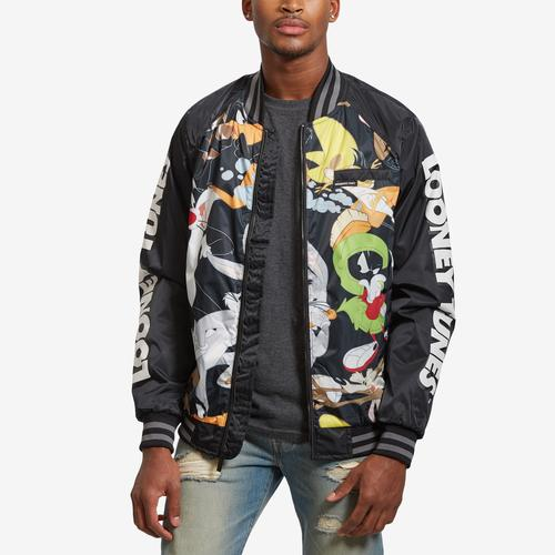Front View of Members Only Men's All Over Mash Print Bomber Jacket