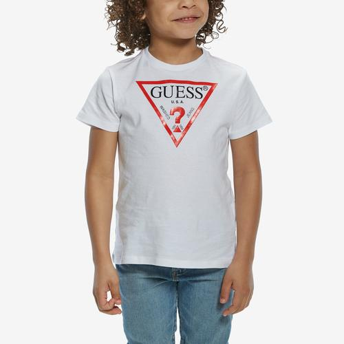 Front View of Guess Boy's Short Sleeve Triangle Logo Tee