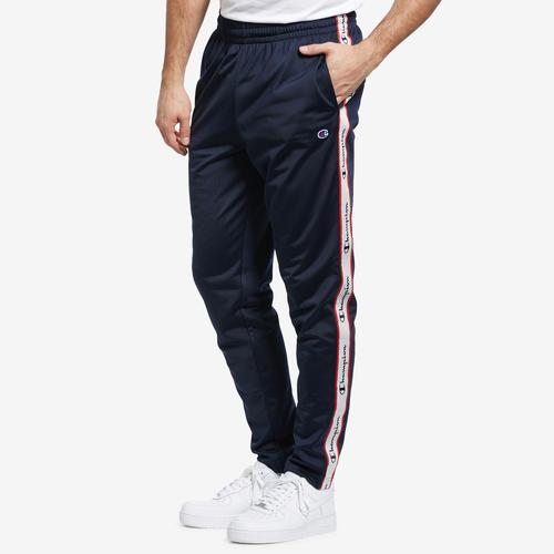 Front View of Champion Men's Track Pants, Logo Side Taping