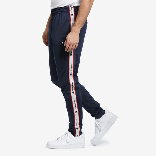 Right Side View of Champion Men's Track Pants, Logo Side Taping