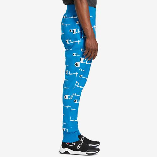 Right Side View of Champion Men's Life Reverse Weave Joggers, All Over Logo