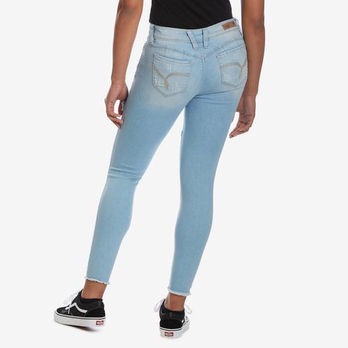 YMI Women's WannaBettaButt Foldover Distressed Skinny Jeans