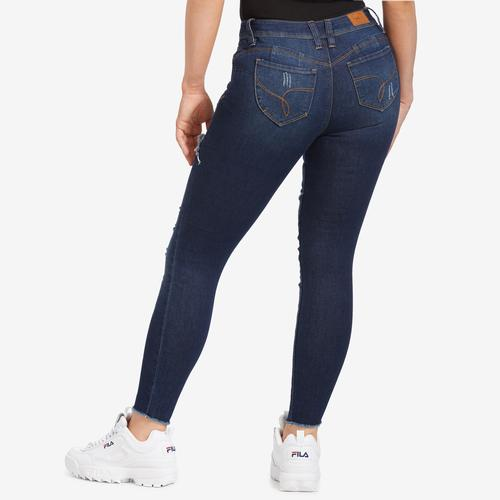 YMI Junior's WannaBettaButt Foldover Distressed Skinny Jeans