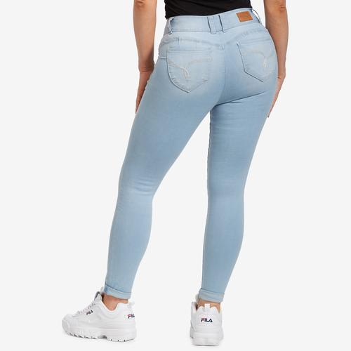 YMI Junior's WannaBettaButt High-Rise 2-Button Denim Ankle Jean