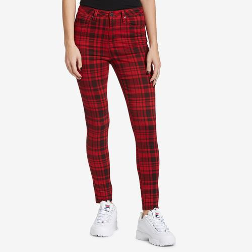 Front View of YMI Women's High-Rise Plaid Skinny Pants