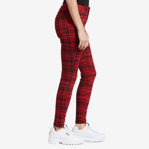 Left Side View of YMI Women's High-Rise Plaid Skinny Pants