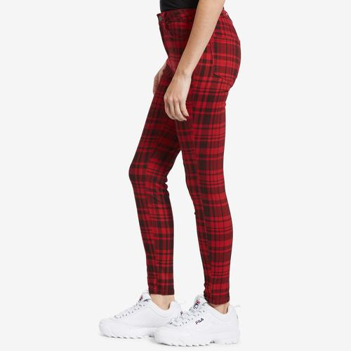Right Side View of YMI Women's High-Rise Plaid Skinny Pants
