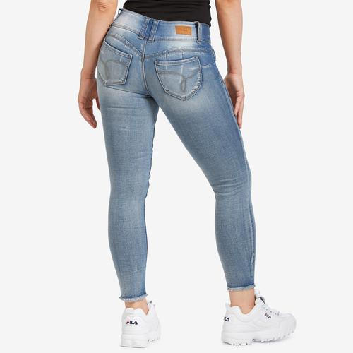 YMI Junior's WannaBettaButt 3-Button Denim Ankle Jeans