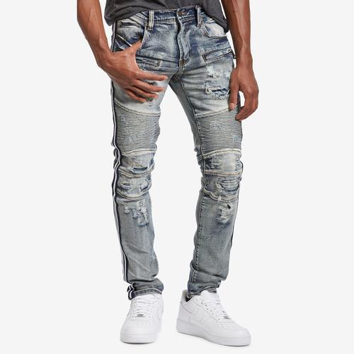 Preme Men's Athletic Stripe Stretch Moto Jean