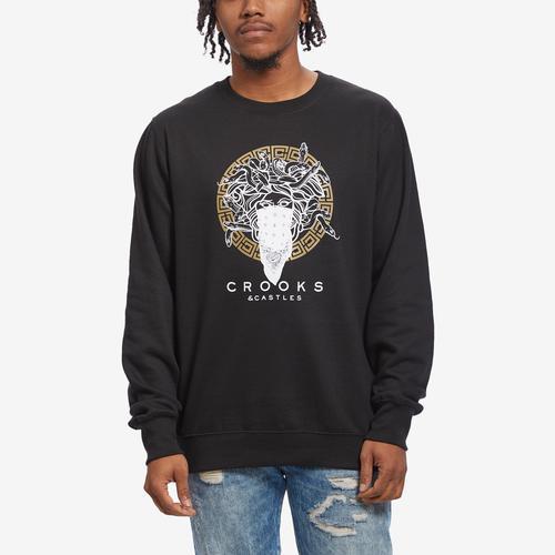 Front View of Crooks & Castles Men's Greco Medusa Sweatshirt