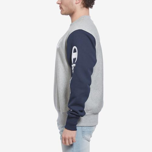 Right Side View of Champion Men's Reverse Weave Colorblock Crew Sweatshirt