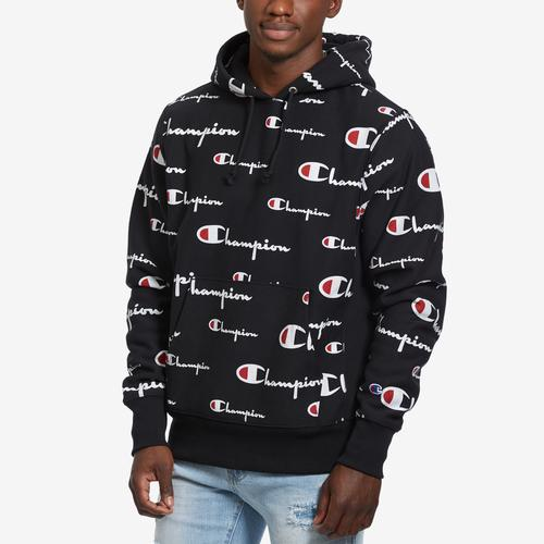 Front View of Champion Men's Reverse Weave Pullover Hood, All-Over Logo