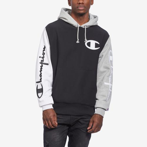 Front View of Champion Men's Reverse Weave Colorblock Hoodie