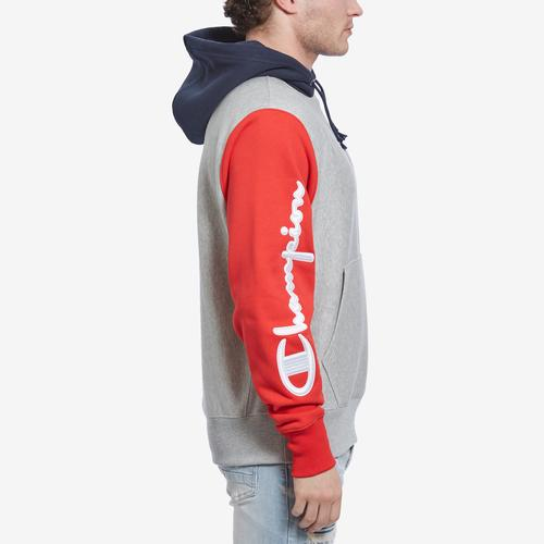 Left Side View of Champion Men's Reverse Weave Colorblock Hoodie