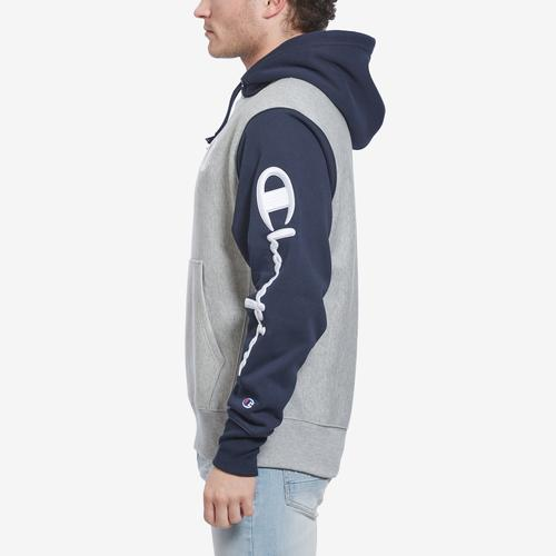 Right Side View of Champion Men's Reverse Weave Colorblock Hoodie