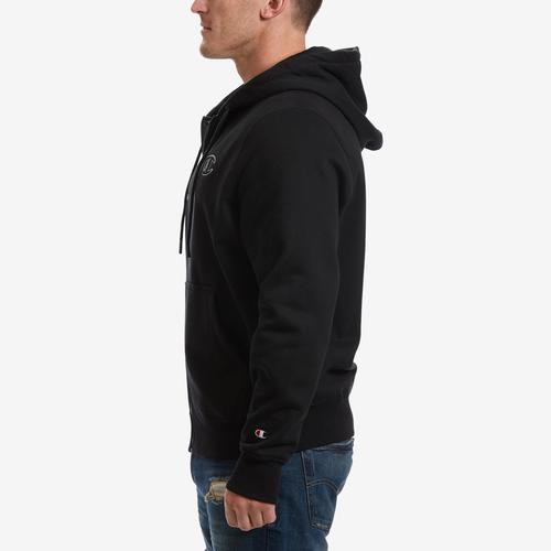 Left Side View of Champion Men's Super Fleece 2.0 Full Zip Hoodie