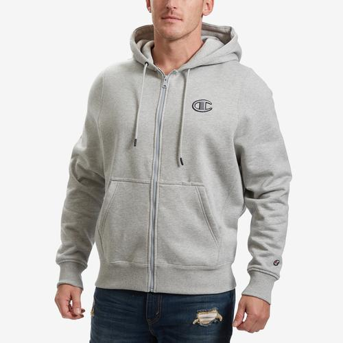 Front View of Champion Men's Super Fleece 2.0 Full Zip Hoodie