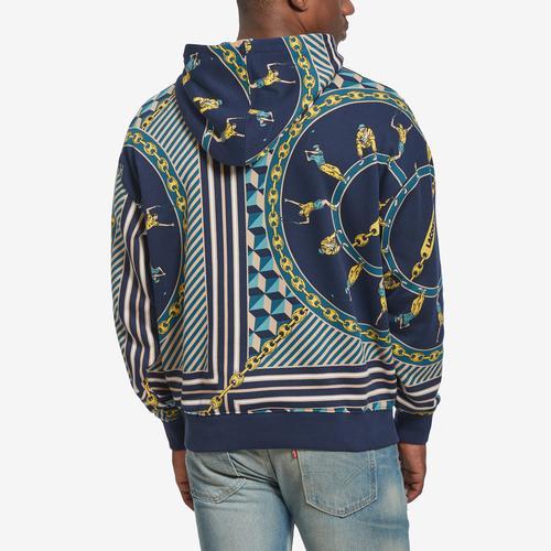 Lacoste Men's Unisex Live Scarf-Print Hooded Sweatshirt
