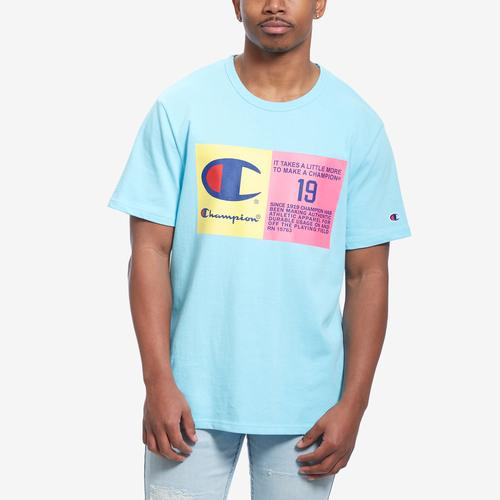 Front View of Champion Men's LifeHeritage Tee, Pop Color Jock Tag