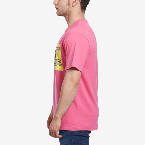 Right Side View of Champion Men's LifeHeritage Tee, Pop Color Jock Tag