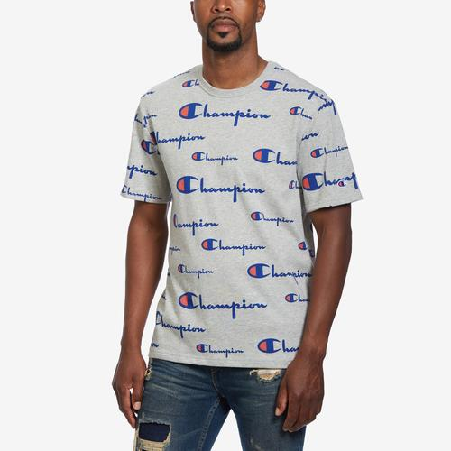 Front View of Champion Men's Life Tee, All-Over Script Logo