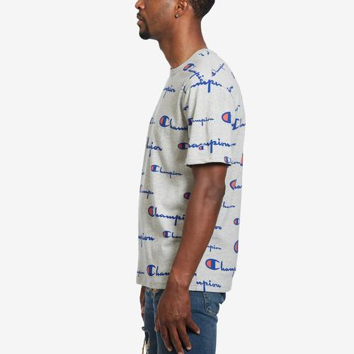 Left Side View of Champion Men's Life Tee, All-Over Script Logo