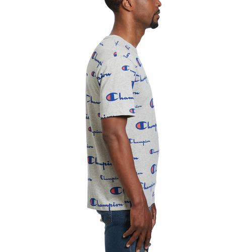 Right Side View of Champion Men's Life Tee, All-Over Script Logo