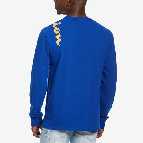 Back View of Champion Men's Life Long-Sleeve Tee, Script Logo