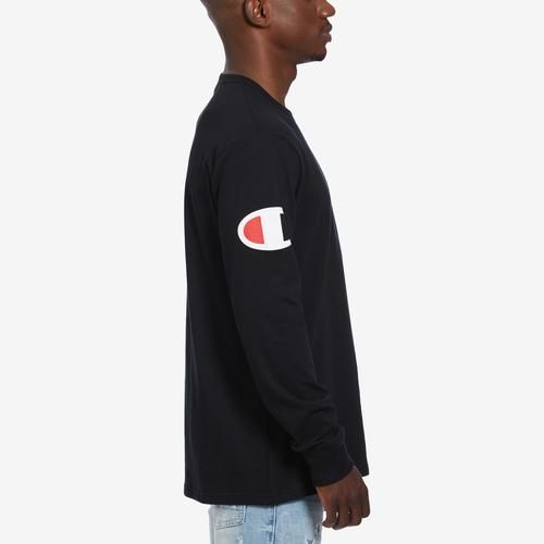 Right Side View of Champion Men's Life Long-Sleeve Tee, Script Logo