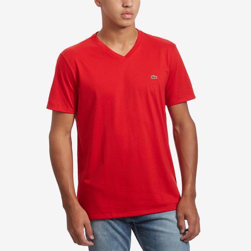 Front View of Lacoste Men's V-Neck Pima Cotton Jersey T-Shirt