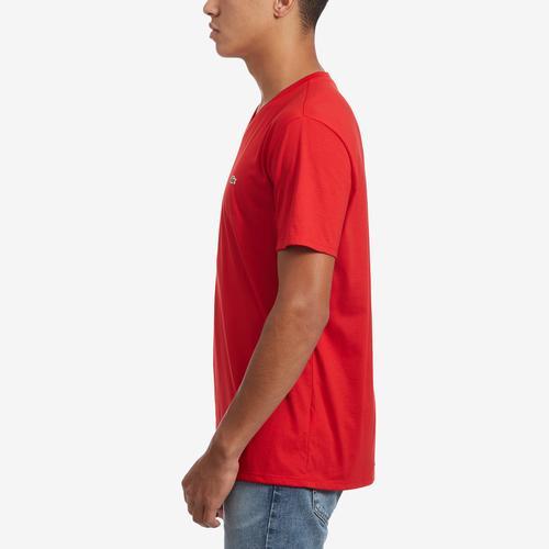 Left Side View of Lacoste Men's V-Neck Pima Cotton Jersey T-Shirt