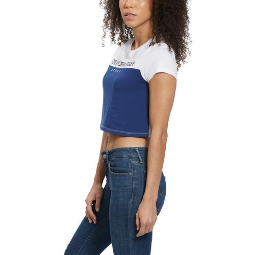 Right Side View of Tommy Hilfiger Women's Cropped Colorblock Logo Tee