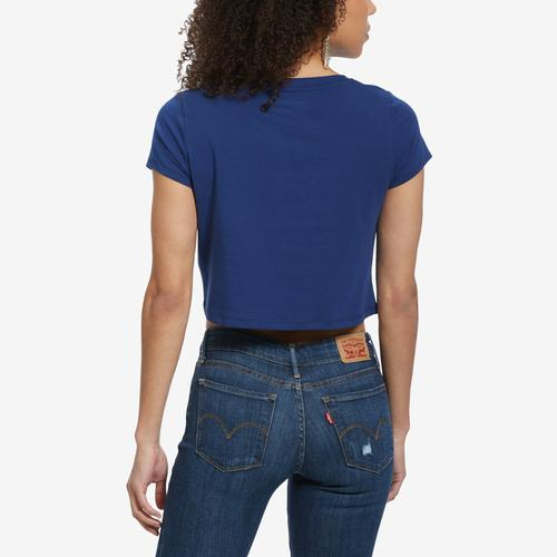 Back View of Tommy Hilfiger Women's Cropped Colorblock Logo Tee