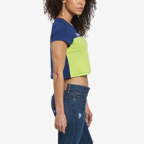 Left Side View of Tommy Hilfiger Women's Cropped Colorblock Logo Tee