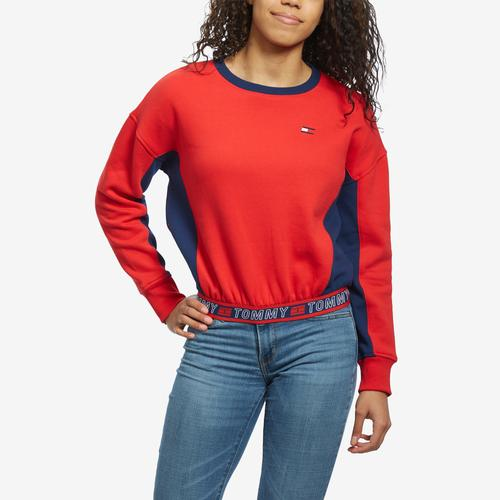 Front View of Tommy Hilfiger Women's Cropped Crew Panel Sweatshirt