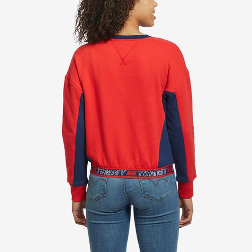 Back View of Tommy Hilfiger Women's Cropped Crew Panel Sweatshirt
