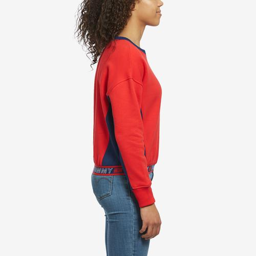 Left Side View of Tommy Hilfiger Women's Cropped Crew Panel Sweatshirt