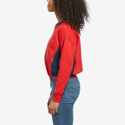 Right Side View of Tommy Hilfiger Women's Cropped Crew Panel Sweatshirt
