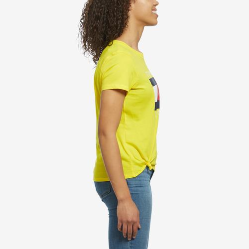 Left Side View of Tommy Hilfiger Women's Logo Knot Front Tee